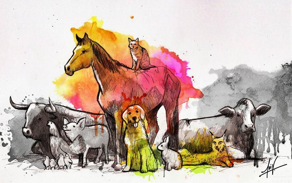 Cuadro de animales, dia del protector animal