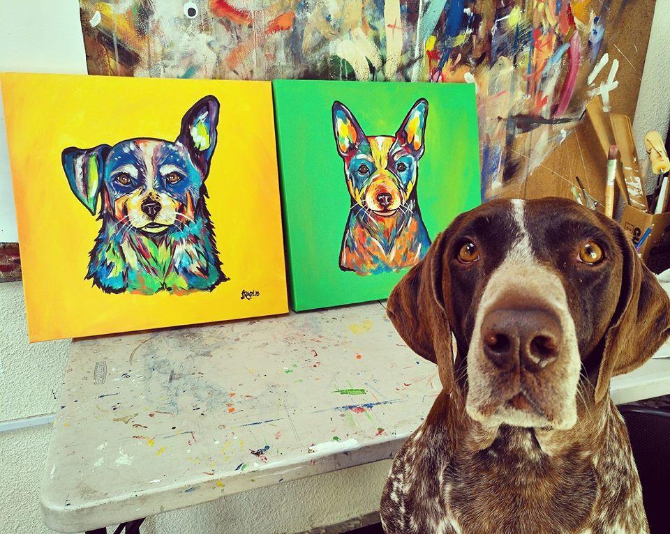 Arte de mascotas de Raquel Recinos, artista guatemalteca