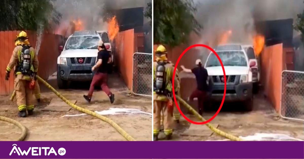 hombre ingresa por incendio para salvar a su mascota
