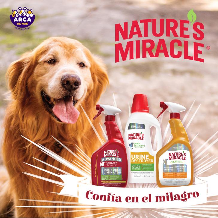 """Nature's Miracle contiene su fórmula única de enzimas que eliminan la manchas y sus rastros de origen, """"comiéndose"""" la mancha en su totalidad"""