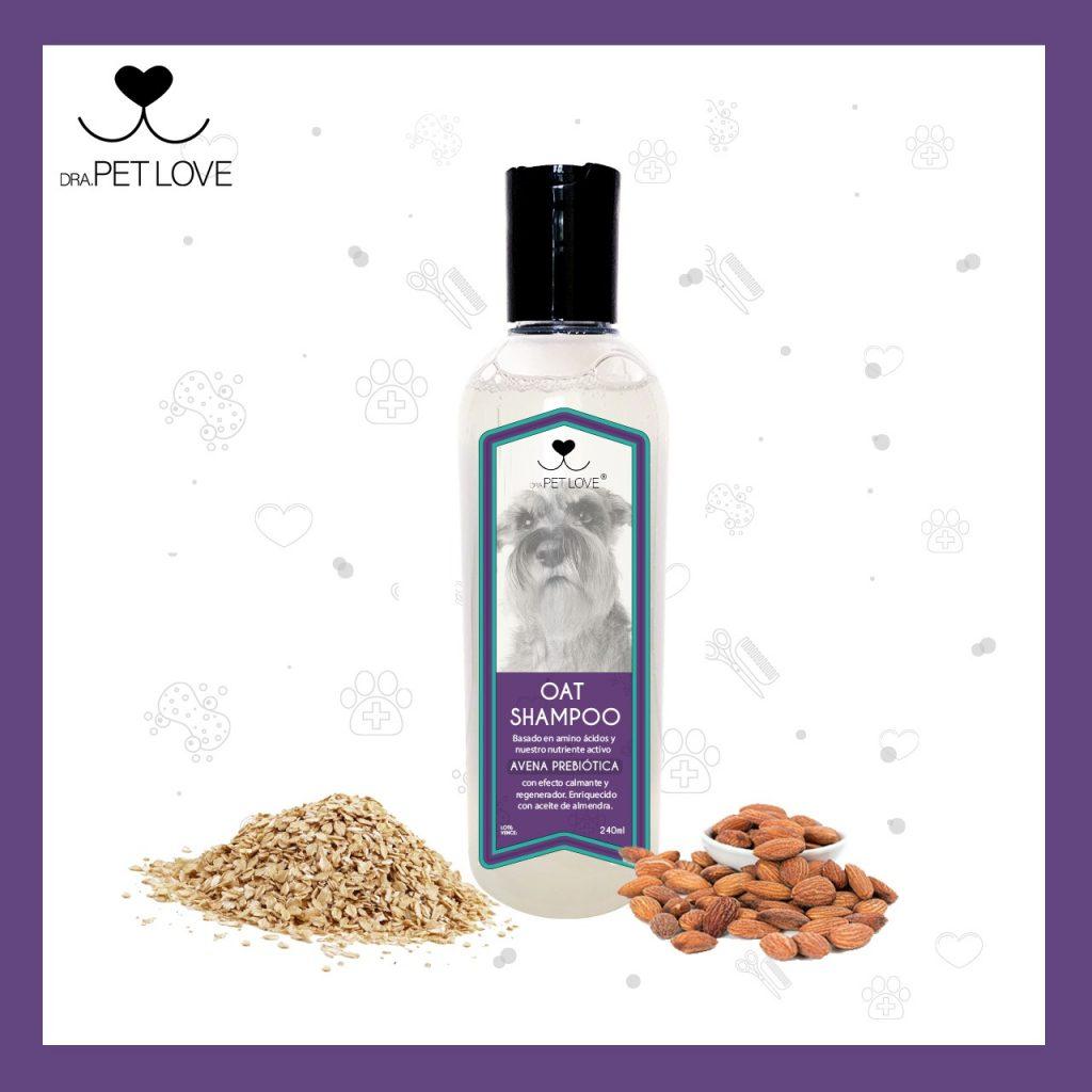 Shampoo natural de avena prebiótica para perros con problemas de piel